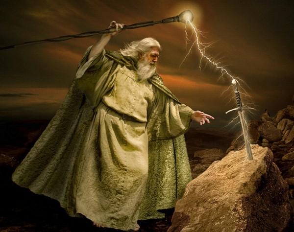Merlin mit schwert
