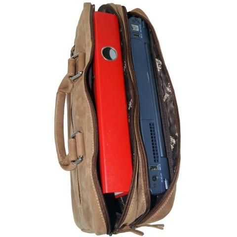 Laptoptasche 2-Fächern Leder